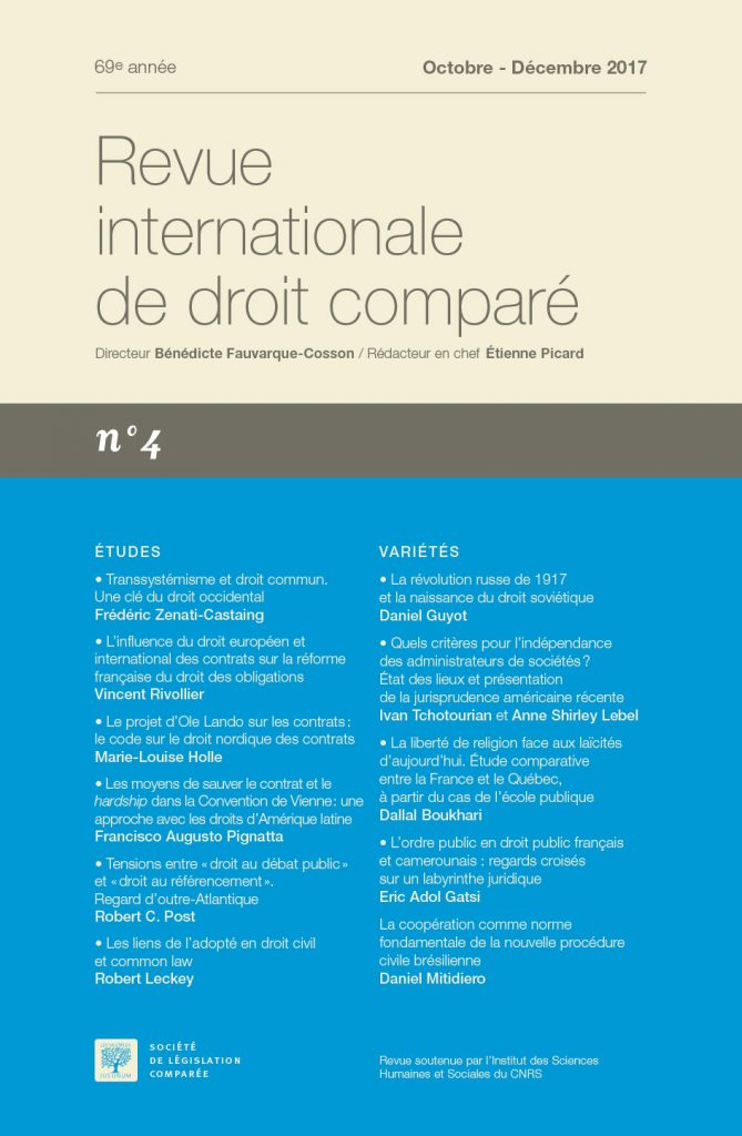 Subscription Revue internationale de droit comparé