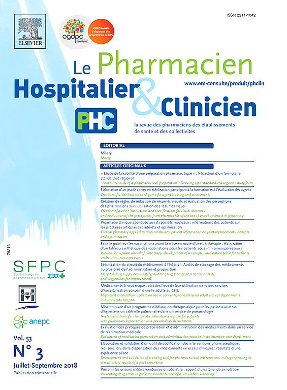 Subscription Le Pharmacien Hospitalier et Clinicien