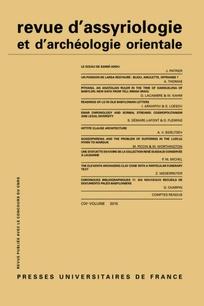 Subscription Revue d'assyriologie et d'archéologie orientale